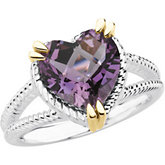 Sterling Silver & 14kt Yellow Amethyst Ring