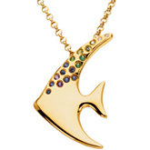 Multicolor Gemstone Angelfish Brooch/Necklace