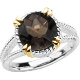 Sterling Silver & 14kt yellow Smoky Quartz Ring