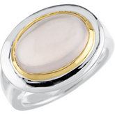 Genuine Cabochon Rose Quartz Ring