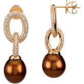 FRESHWATER CULTURED CHOCOLATE PEARL & DIAMOND EARRINGS