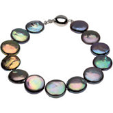 Freshwater Black Cultured Coin Pearl Necklace or Bracelet