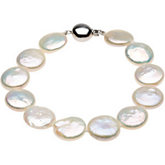 Freshwater White Cultured Coin Pearl Necklace or Bracelet