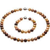 Freshwater Dyed Chocolate Pearl Necklace or Bracelet