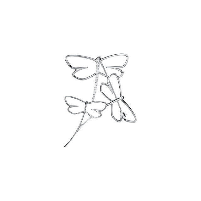 White Gold Dragonfly Brooch With Diamond Accents