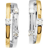 1/8 ct tw Two Tone Diamond Hoop Earrings