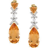 Genuine Precious Topaz and Diamond Earrings
