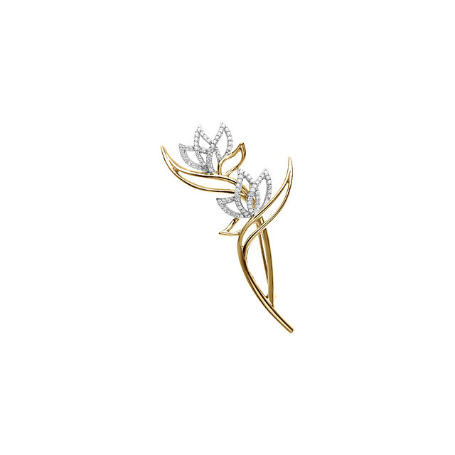 Two Tone Flower Design Brooch With Diamonds