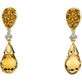 Genuine Citrine Briolette & Diamond Earrings