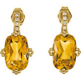 Genuine Citrine & Diamond Earrings