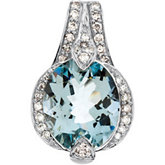 Genuine Aquamarine & Diamond Pendant