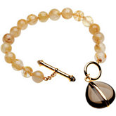 Genuine Rutilated Quartz Beads & Smoky Quartz Charm Bracelet