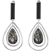 Genuine Onyx &  Black Tourmalinated Quartz Earrings