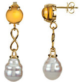 Aquarella® South Sea Cultured Pearl & Genuine Citrine Earrings