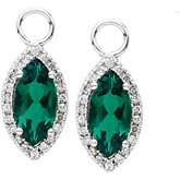 Diamond & Chatham Created Emerald Dangles