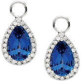 Diamond & Chatham Created Sapphire Dangle