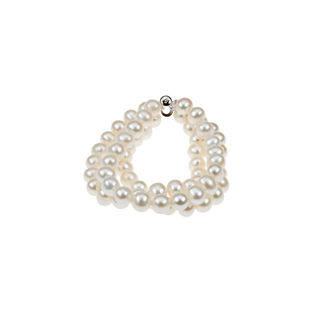 Sterling Silver 8-9mm Freshwater Cultured Pearl Triple Strand 7.25