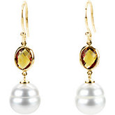 Freshwater Cultured Circle Pearl &Genuine Citrine Earrings