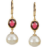Freshwater Cultured Circle Pearl & Genuine Rhodolite Garnet Earrings