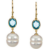 Freshwater Cultured Circle Pearl & Genuine London Blue Topaz Earrings