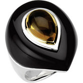Genuine Onyx & Citrine Dome Ring