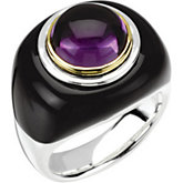 Genuine Onyx & Amethyst Dome Ring