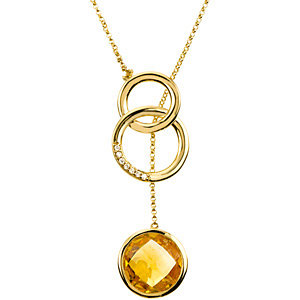 Genuine Checkerboard Citrine & Diamond Necklace