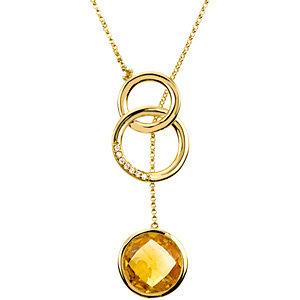 Genuine Checkerboard Citrine & Diamond Necklace