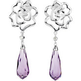 Genuine Amethyst Briolette & Diamond Earrings