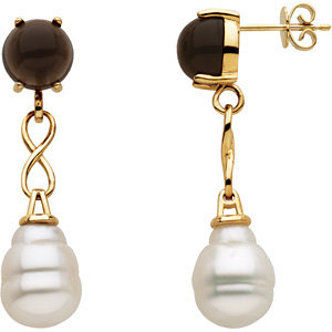 Aquarella® South Sea Cultured Pearl & Genuine Smoky Quartz Earrings