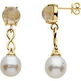 Aquarella® South Sea Cultured Pearl & Genuine Rutilated Quartz Earrings