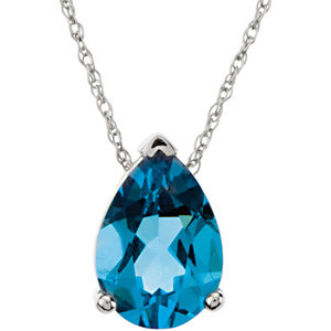 Swiss Blue Topaz Chain Slide
