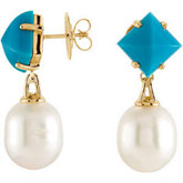 Aquarella® South Sea Cultured Pearl & Genuine Turquoise Earrings