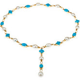 Aquarella® South Sea Cultured Pearl & Genuine Turquoise Necklace