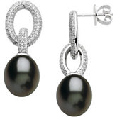 Freshwater Cultured Black Pearl & Diamond Earrings