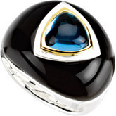 Genuine Swiss Blue Topaz & Onyx Dome Ring