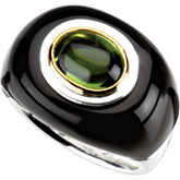 Genuine Peridot & Onyx Dome Ring