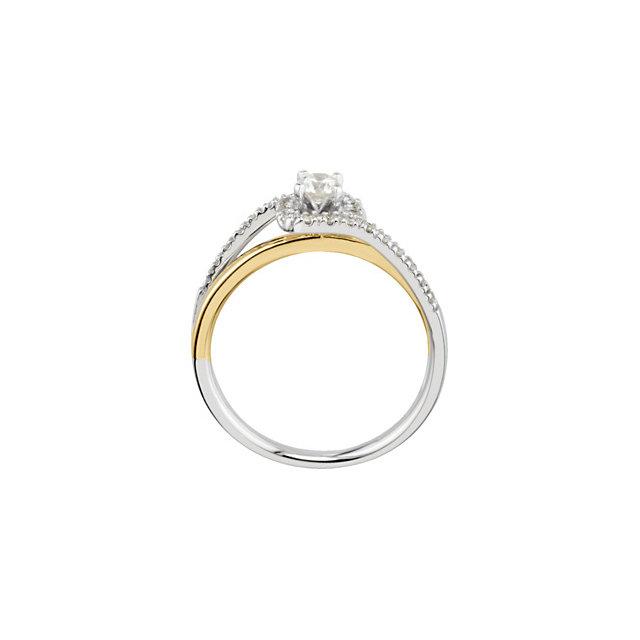 14K White & Yellow 1/3 CTW Diamond Bypass Engagement Ring