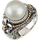 Freshwater Cultured Pearl Ring with Fleur-de-lis Trim