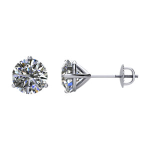 SI₁-SI₃ G-H Diamond Threaded Post Stud Earrings