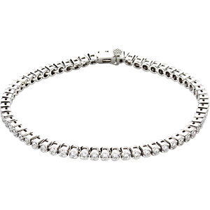 "14K White 3 CTW Diamond Line 7.25"" Bracelet"