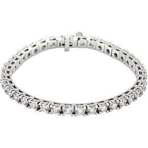 "18K White 10 CTW Diamond Line 7.25"" Bracelet"
