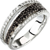 Genuine Black Spinel & Diamond Ring