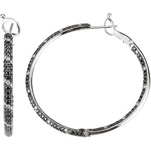 Black & White Diamond Inside/Outside Hoop Earrings