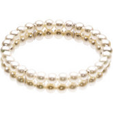 Freshwater Cultured Pearl 2 Row Bangle Bracelet