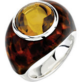 Genuine Honey Quartz Ring with Leopard Print Enamel