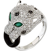 Genuine Emerald, Onyx & Diamond Ring