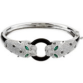 Genuine Onyx, Emerald & Diamond Bracelet