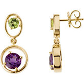 Genuine Peridot & Amethyst Earrings