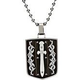 Black ion plated Stainless Steel Pendant on a 30 inch Bead Chain